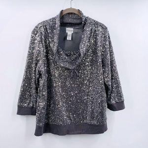 Chico's Zenergy Silver Sequin Top Size 2 XL